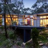 Pavilion, corrugated steel, Timber, Ventilation, Blackwood, small footprint, solar gain, nature, environment, sloping site, ventilation