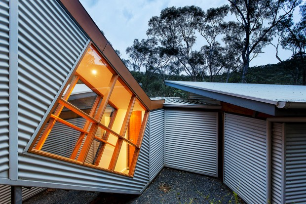 Pavilion, corrugated steel, Timber, Ventilation, Blackwood, small footprint, solar gain, nature, environment, sloping site, ventilation