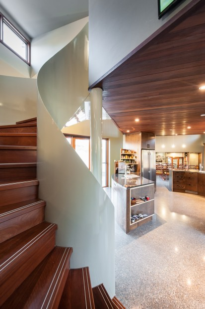 contemporary, courtyard, mezzanine, landscape, solar access, sustainable, spiral staircase, jarrah, timber, air movement, thermal mass, reverse brick veneer, rammed earth, photovoltaic panels, solar evacuated tubes, hydronic heating, evaporative cooler, cool pipe system, grey water system