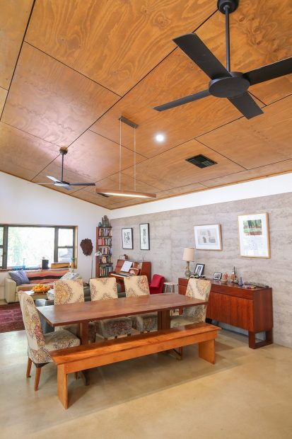 Living, rammed earth, northern aspect, house, ESD, energy efficient, timber cladding, energy architecture, architecture, Mildura, polished concrete, windows, home
