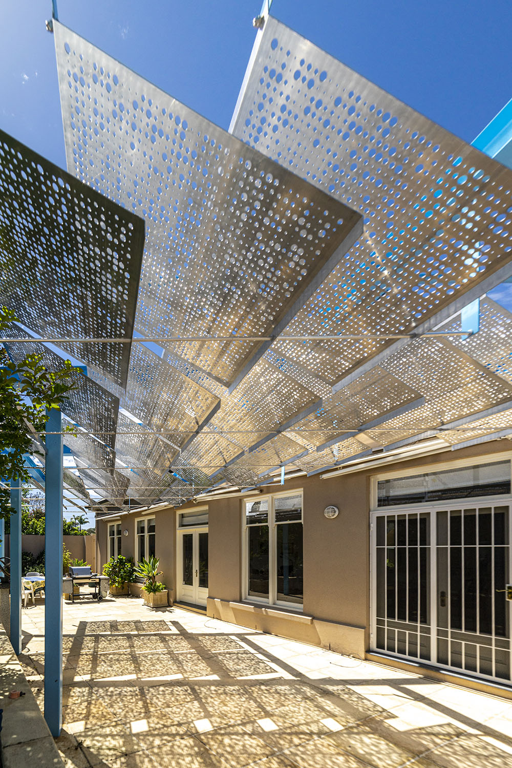 House, Canopy, Architecture, Sunlight, Shade, Sculptural, Form, perforated panels, Steel, Architectural, Structure. Outdoors, Verandah, Pergola, Adelaide